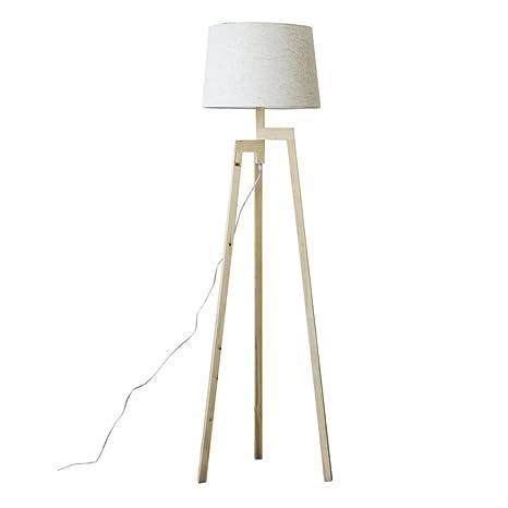 1 Lámpara de pie de trípode LED de madera de América, LED ...