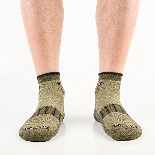 YingDi Copper Socks Moisture Wicking Anti-microbial Ankle Sport Socks Size L Green With Black Welt Pack of 4 pairs by yingDi (Image #3)