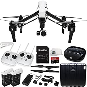 DJI Inspire 1 Quadcopter with 4K Camera and 3-Axis Gimbal Dual Remote Bundle (8 Items)