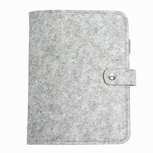 A5 Binder,A5 Personal Organizer, Spiral Notebook Binder Wool Felt Notebook-Harphia (Light Gray, A5 9 x 6.69'')