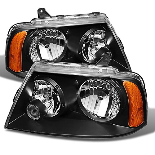 (ACANII - For Black 2003-2006 Lincoln Navigator Replacement Headlights 03 04 05 06 Headlamps Driver + Passenger Side)