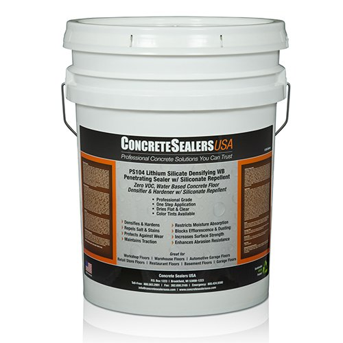 PS104 Lithium Silicate Densifying WB Penetrating Sealer w/ Siliconate Repellent (5 gal.) by Concrete Sealers USA