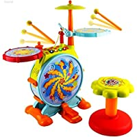 WolVol Electric Big Toy Drum Set for Kids with Movable Working Microphone to Sing and a Chair - Tons of Various Functions and Activity, Bass Drum and Pedal with Drum Sticks (Adjustable Volume)