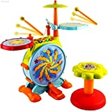 WolVol Electric Big Toy Drum Set for Kids with Movable Working Microphone to Sing and a Chair - Tons...