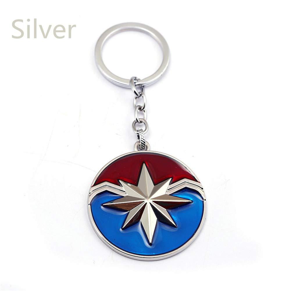 Lincong Llavero Coleccionable de Coche Capitán Marvel América Escudo de Plata Regalo de Accesorios Bolsa de Coche Regalo Creativo para Niños