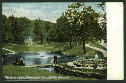Mirror Lake Cascade Play Grounds Meriden CT postcard 1909 ()