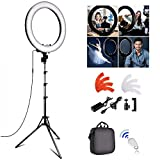 FOSITAN 18 inch LED Ring Light Kit, 18 inches/48cm Outer 55W 5500K Dimmable 240 LED Ring Lighting Kit with 2M Light Stand Work with Smartphone and SLR Camera for YouTube, Makeup, Videographer