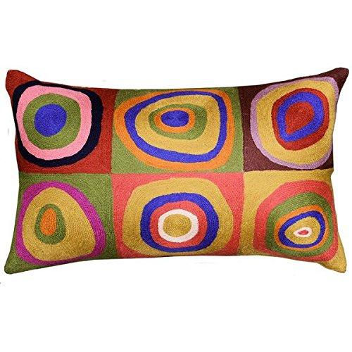 Kashmir Designs Lumbar Kandinsky Cushion Cover Farbstudie Quadrate Hand Embroidered 13