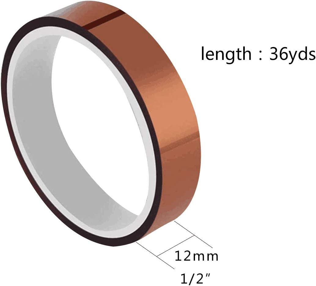 2/pcs KAPTON Polyamide haute temp/érature ruban adh/ésif x 36yds 12/mm