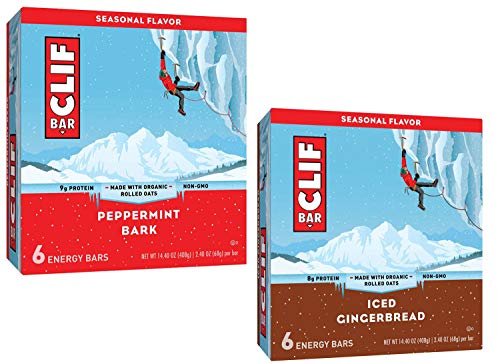 Clif Energy Bars Seasonal Variety Pack: Peppermint Bark, Iced Gingerbread – 12 Bars