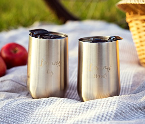 Set Of 2 Kenley Stemless Stainless Steel Wine Glasses With
