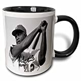 "3dRose mug_80393_4 ""Picture Of Jackie Of The Brooklyn Dodgers"" Two Tone Black Mug, 11 oz, Multicolor"