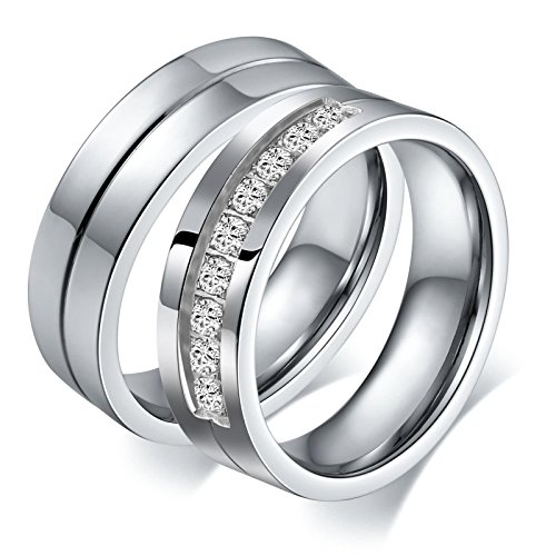 Aeici Stianless Steel Silver ''Forever Love'' Couples Promise Ring Romantic Couples Gift Women Size 9 & 10 by Aeici (Image #3)'