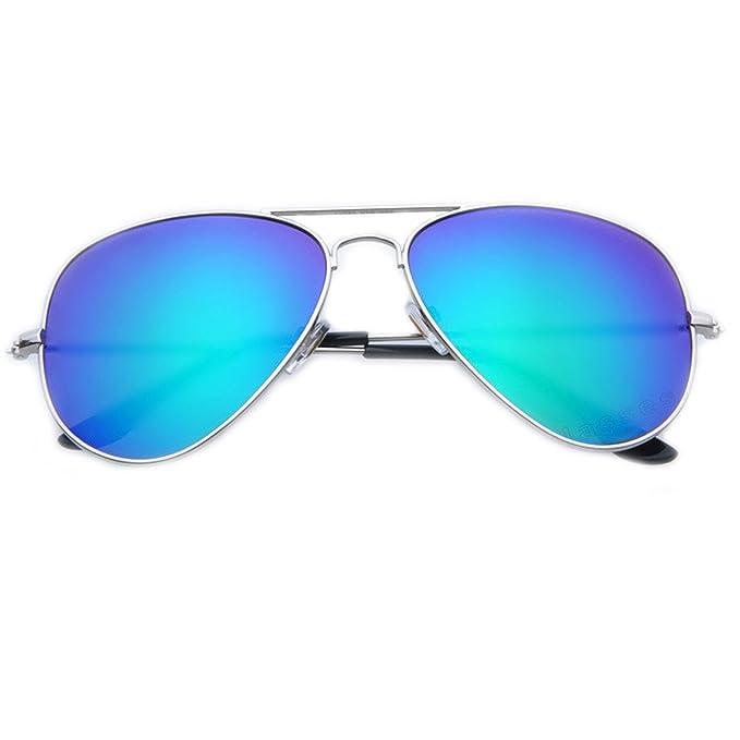 Moda Classico Colorfilm Riflettente Aviator Occhiali Da Sole Retro Trend Occhiali Da Vista Twin-Travi Colorato UV400,FrameFramePinkLens-OneSize