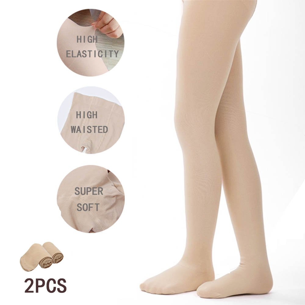Tights for Girls Ballet Leotards Toddler Dance Leggings Pants Footed Kids (Skin - 2 Tights, 2-4 Years)