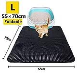 Cat Litter Mat Trapper Mat,Extra Large Double-Layer Honeycomb Cat Litter Box Mat with Waterproof Base Layer ECO-Friendly Light Weight EVA Foam Rubber (27 x 22 inch Black)