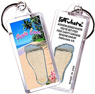 "product image for Punta Cana ""FootWhere"" Keychain (PC103 - Paradise). Authentic Destination Souvenir acknowledging Where You've Set Foot. Genuine Soil of Featured Location encased Inside Foot Cavity. Made in USA"