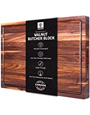 Mevell Large Walnut Wood Cutting Board - 17x11 with Juice Drip Groove, Big American Hardwood Chopping and Carving Countertop Block