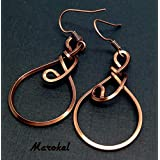 Kuchina Copper Earrings Small Wire Wrapped