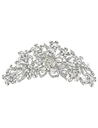 Ever Faith 6.3 inch Bridal Flower Cluster Austrian Crystal Clear Hair Comb Pin