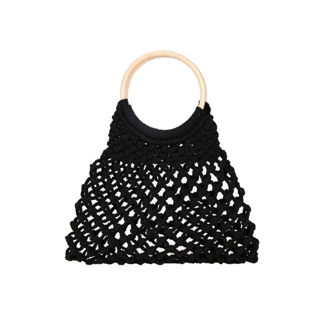 Women Bag Ikevan 2019 Fashion Women Retro Weave Hollow Out Bucket Bag Travel Beach Bag Handle Bag (Black)