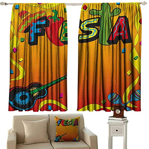 DuckBaby Sliding Curtains Fiesta Latino Pattern with Swirled Stripe Frame with Musical Instruments Confetti Design Blackout Draperies for Bedroom Living Room W55 xL45 Multicolor