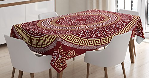 Ambesonne Greek Key Tablecloth, Round and Square Ornament Me