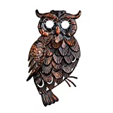 Collections Etc Rustic Owl Solar Lighted Metal 3D Outdoor Wall Art Decoration