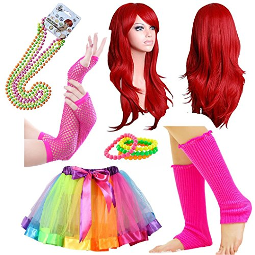 iLoveCos 80s Fancy Outfit 1980s Costume Accessoies for Women Red Long Wigs Rainbow Tutu Skirt (Multi F1)