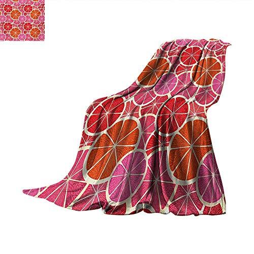 Fruits Super Soft Lightweight Blanket Funky Grapefruit Vintage Citrus in Vibrant Circular Illustration Velvet Plush Throw Blanket 60