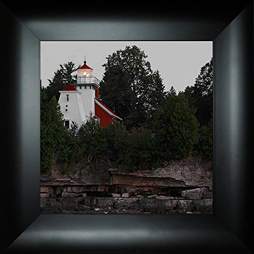 (Sherwood Point Light By Todd Thunstedt 18x18 Idlewild Sturgeon Bay Wisconsin WI Door County Lighthouse Sailing Ocean Sea Split Rock Fish Creek Peninsula State Park Framed Art Print Wall Décor Picture)