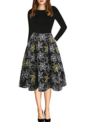 oxiuly Women's Vintage Patchwork Pockets Long Sleeve Casual Work Swing Dress OX165 (S, Black Long)