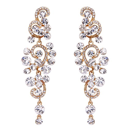 BriLove Women's Bohemian Boho Wedding Bridal Crystal Floral Chandelier Hollow Dangle Earrings Clear Gold-Tone (Dangling Chandelier Earrings)