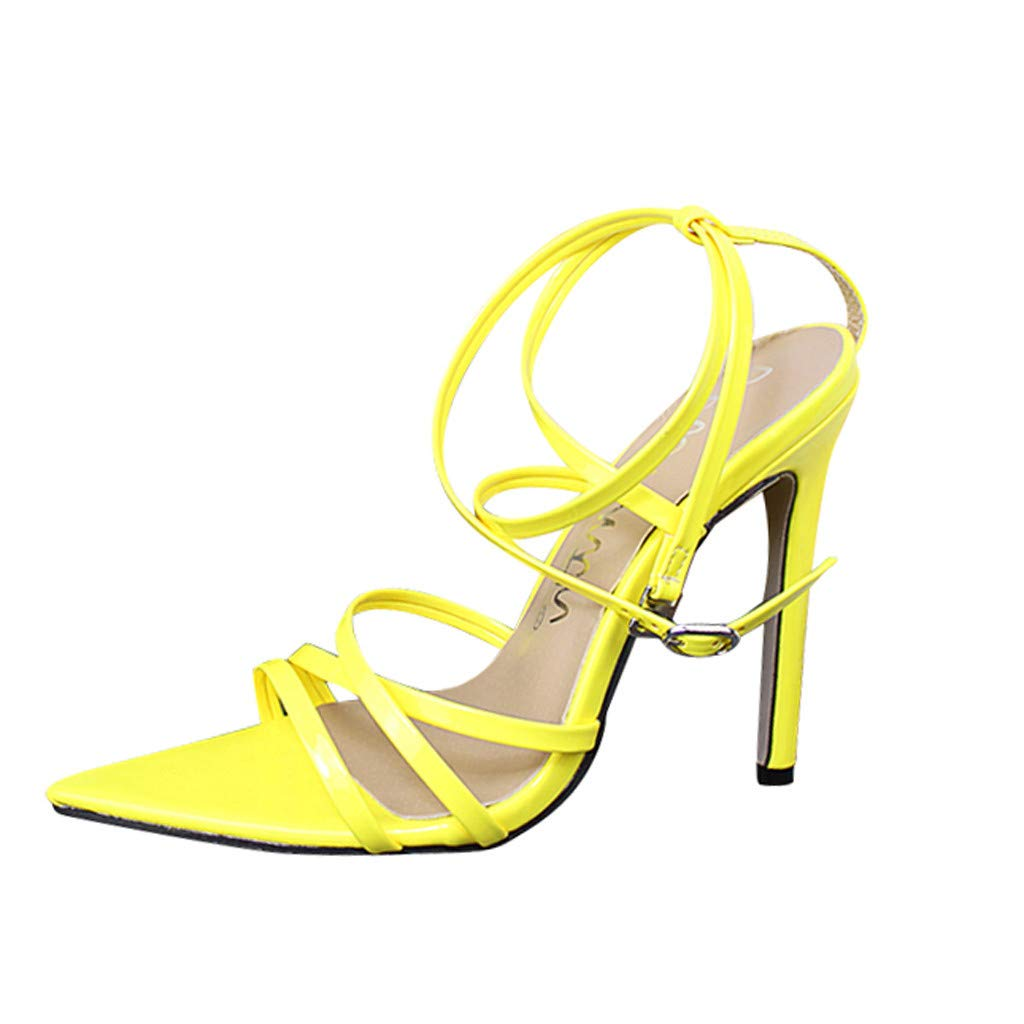 Thenxin Women Solid Pointed Toe High Heel Sandals Fashion Party Wedding Shoes for Work (Yellow,9 US)