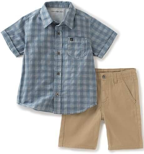 Calvin Klein Baby Boys' 2 Pieces Short Set-Plaid Woven Shirt