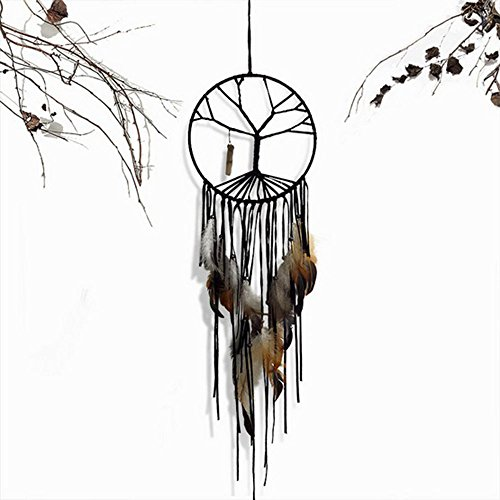 Little Chair Handmade Tree of Life Feather Beads Dream Catcher Circular Net Home Room Wall Hanging Decoration Party Wedding Ornament