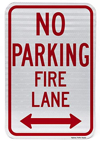 No Parking, Fire Lane Sign with Arrow | Parking Lot & Street Sign | Enforces Parking Rules | Engineer Grade | 3M Reflective Sheeting & Inks | Rust-Free Aluminum | Made in USA | 12