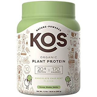 KOS Organic Plant Based Protein Powder - Chocolate Chip Mint Protein Powder - Gluten, Dairy & Soy Free Vegan Protein Powder - Ideal for Meal Replacement Shakes for Weight Loss - 1.3 Pounds, 15 Serving