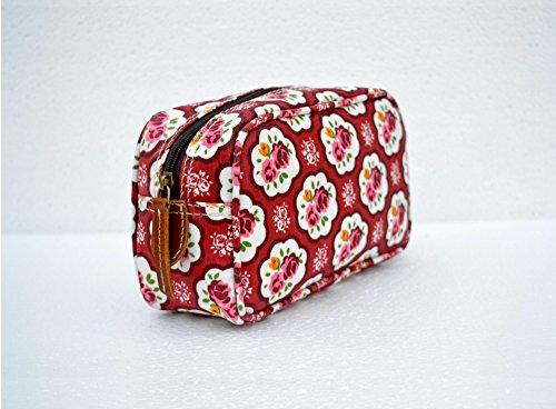 Red beauty case, motivo rose, stile shabby chic, laminato, borsa, finiture in pelle, make up o per cosmetici, borsello.