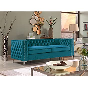 Iconic Home Da Vinci Modern Contemporary Velvet Button Tufted With Silver  Nailhead Trim Silvertone Metal Leg Sofa, Teal