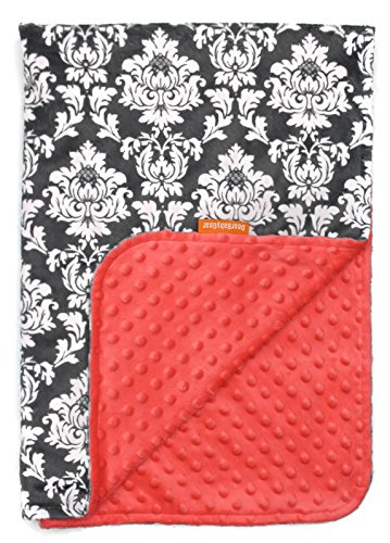 (Dear Baby Gear Deluxe Baby Blankets, Custom Minky Print Double Layer Grey and White Damask, Coral Minky Dot, 38 inches by 29 inches)