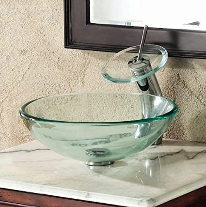 ELITE Bathroom Clear Glass Vessel Sink U0026 Chrome Waterfall Faucet Combo U0026  Chrome Pop Up Drain