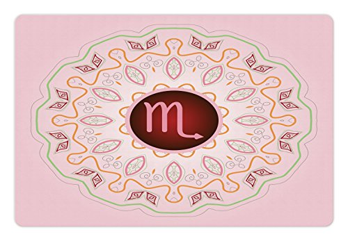 Ambesonne Zodiac Scorpio Pet Mat for Food and Water, Astrology Theme Sign on an Ornate Oriental Mandala Figure with Pink Backdrop, Rectangle Non-Slip Rubber Mat for Dogs and Cats, Multicolor