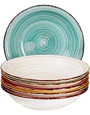 MamboCat bord set Rimini voor 6 personen   diepe diepe diepe borden   650 ml   salade bord   ronde serveerschaal   porseleinen kom   handgeschilderd   meerkleurig