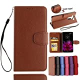 Abtory LG V10 Case, Litchi Pattern PU Leather Wallet Case with Kickstand Card Holder ID Slots and Hand Strap Shockproof Phone Cover for LG V10 Brown