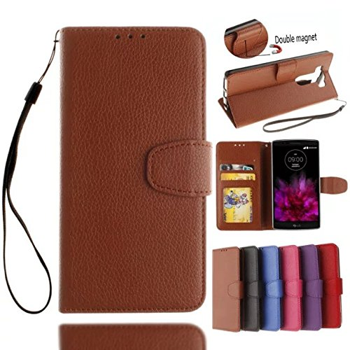 (LG V10 Case, Abtory Litchi Pattern PU Leather Wallet Case with Kickstand Card Holder ID Slots and Hand Strap Shockproof Phone Cover for LG V10 Brown )