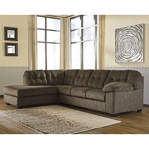 Piece 2 Settee (Flash Furniture Signature Design by Ashley Accrington 2-Piece RAF Sofa Sectional in Earth Microfiber)