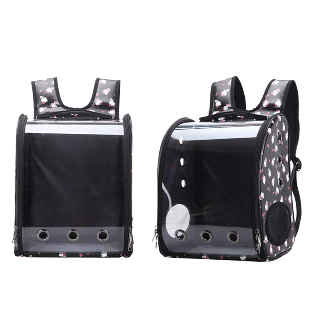 Black XDYFF Pet Carrier Cat Backpack Puppy Travel Foldable transparent pet bag portable breathable pet bag space bag for Outdoor Travel Hiking for Cat and Small Dog