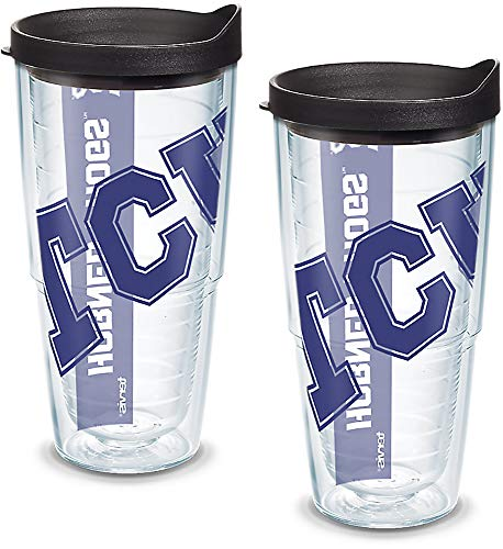 (Tervis 1093476 TCU Horned Frogs Colossal Tumbler with Wrap and Black Lid 2 Pack 24oz, Clear)