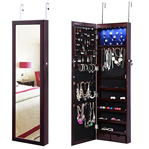 SONGMICS LED Jewelry Cabinet Lockable Wall Door Mounted Jewelry Armoire Organizer with Mirror 2 Drawers Brown